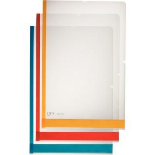 LEITZ Sichthülle mit farbigem Beschriftungsstreifen A4 6 Stück transparent