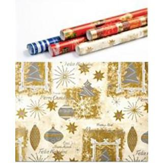 Weihnachts-Geschenkpapier gemustert 5 m gold