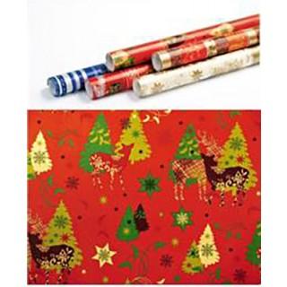 Weihnachts-Geschenkpapier Winterwald 5 m rot
