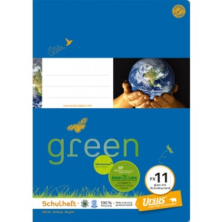 URSUS GREEN Heft FX 11 A4 20 Blatt glatt mit Korrekturrand blau