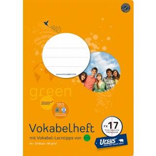 URSUS GREEN Vokabelheft FX 17 A4 20 Blatt liniert mit Mittelstrich orange
