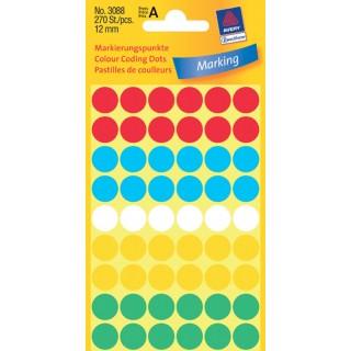 AVERY ZWECKFORM Markierungspunkte Ø 12 mm 270 Stück mehrere Farben