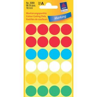 AVERY ZWECKFORM Markierungspunkte 3089 96 Stück ø 18 mm mehrere Farben
