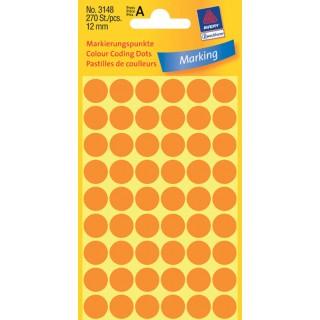 AVERY ZWECKFORM Markierungspunkte 3148 270 Stück ø 12 mm orange