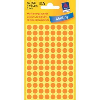 AVERY ZWECKFORM Markierungspunkte 3178 416 Stück ø 8 mm orange