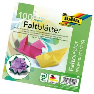 FOLIA Faltblätter 15 x 15 cm 100 Blatt mehrere Farben