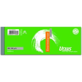 URSUS Eintrittskarte 145 x 50 mm 100 Blatt gelb