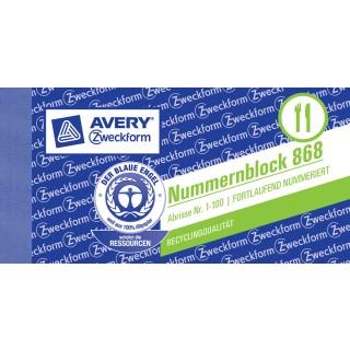 AVERY ZWECKFORM Nummernblock 105 x 53 mm 1-100 sortiert