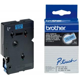 BROTHER Schriftband 9 mm x 7,7 m schwarz auf blau