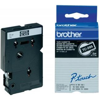 BROTHER P-touch TC-395 9 mm x 7,7 m weiß auf schwarz