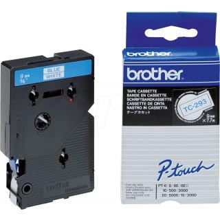 BROTHER Schriftband P-Touch TC-293 9 mm x 7,7 m blau auf weiß