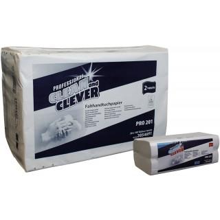 CLEAN & CLEVER Falthandtuch Pro 201 2.800 Stück 25 x 33 cm 2-lagig weiß