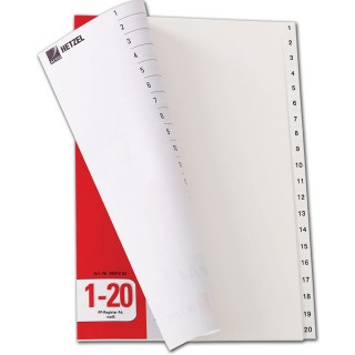 HETZEL Register 1-20 aus Kunststoff A4 weiß