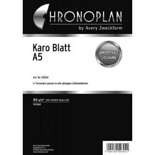 AVERY ZWECKFORM Kalenderblatteinlage Chronoplan 50304 DIN A5 50 Blatt kariert weiß