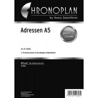 CHRONOPLAN Kalendereinlage Adressregister A5 25 Blatt weiß