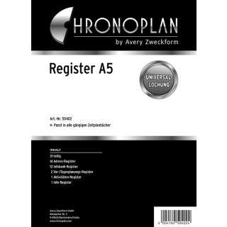 CHRONOPLAN Register aus Kunststoff A5 31-teilig schwarz