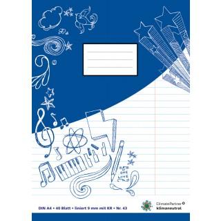 PAGRO Heft A4 40 Blatt liniert mit Korrekturrand blau