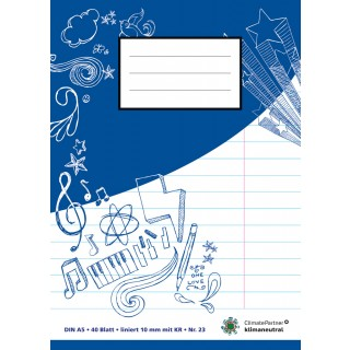 PAGRO Heft A5 40 Blatt liniert mit Korrekturrand blau
