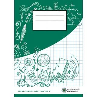 PAGRO Heft A5 20 Blatt kariert 7 mm grün