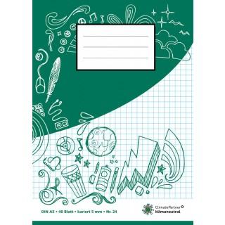 PAGRO Heft A5 40 Blatt kariert grün