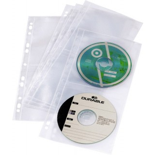 DURABLE CD/DVD Hüllen 5282 5 Stück 16 x 32,5 cm gelocht transparent