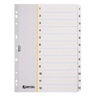 HETZEL Register 1-12 aus Karton A4 12-teilig weiß