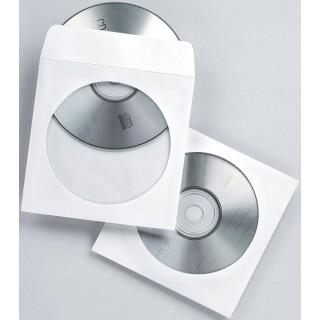 FELLOWES CD/DVD-Papierhülle 90690 50 Stück 12,4 x 12,6 cm mit Sichtfenster weiß