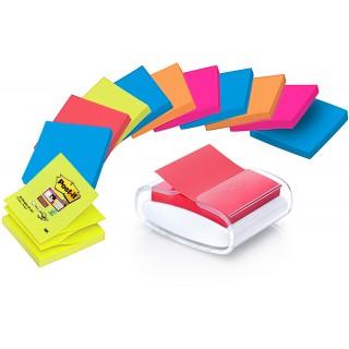 POST-IT® Spender Super Sticky Z-Notes PRO-W12N inkl. 12 Blöcke Super Sticky Z-Notes à 90 Blatt 76 x 76 mm farbig sortiert