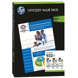 HP Officejet Value Pack 3 x HP 933XL (cyan, magenta, gelb) und 75 Blatt DIN A4 Papier weiß