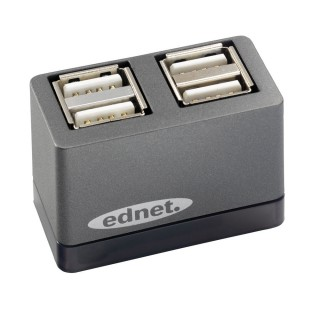 EDNET Mini USB 2.0 High Speed Hub 4-Port grau