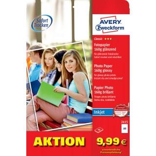 AVERY ZWECKFORM Inkjet Fotopapier 2415 DIN A4 40 Blatt 160 g/m² glänzend weiß
