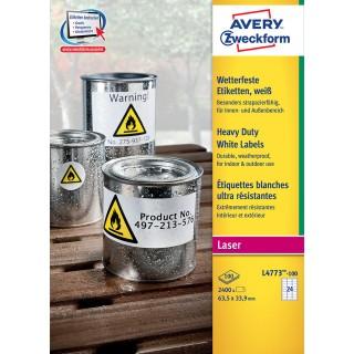AVERY ZWECKFORM Wetterfeste Etiketten L4773-100 63,5 x 33,9 mm weiß