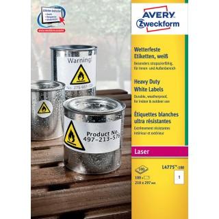 AVERY ZWECKFORM Wetterfeste Etiketten L4775-100 210 x 297 mm 100 Etiketten weiß