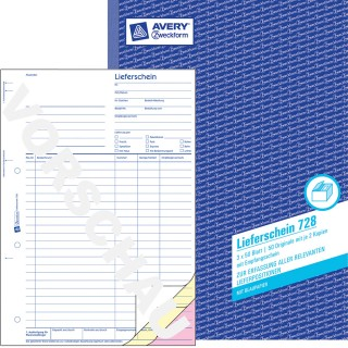 AVERY ZWECKFORM Lieferschein mit Empfangsschein 728 mit Blaupapier DIN A4 3x50 Blatt