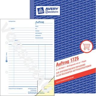 AVERY ZWECKFORM Auftragsbuch A5 2 x 40 Blatt blau