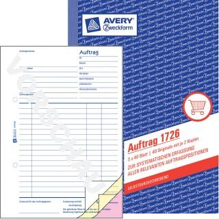 AVERY ZWECKFORM Auftragsbuch A5 3 x 40 Blatt blau
