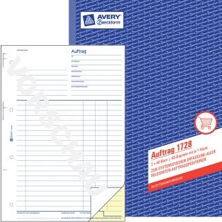 AVERY ZWECKFORM Auftragsbuch A4 2 x 40 Blatt blau