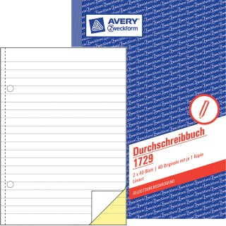AVERY ZWECKFORM Durchschreibbuch 1729 DIN A5 2x40 Blatt liniert selbstdurchschreibend