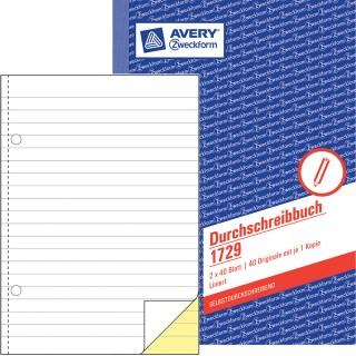 AVERY ZWECKFORM Durchschreibbuch A5 2 x 40 Blatt liniert blau