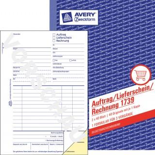 AVERY ZWECKFORM Auftrag/Lieferschein/Rechnung A5 2 x 40 Blatt blau