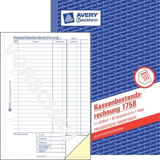 AVERY ZWECKFORM Kassenbestandsrechnung 1758 DIN A5 2x40 Blatt selbstdurchschreibend