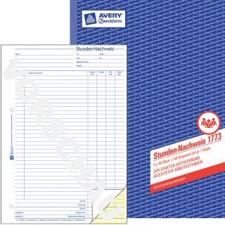 AVERY ZWECKFORM Stundennachweis A4 2 x 40 Blatt blau