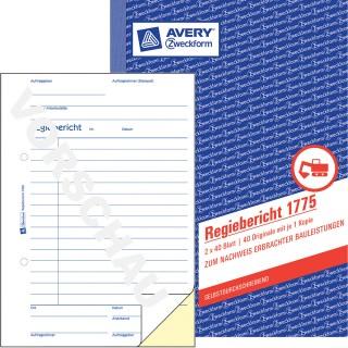 AVERY ZWECKFORM Regiebericht A5 2 x 40 Blatt blau