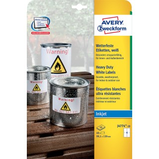 AVERY ZWECKFORM Wetterfeste Etiketten J4774-10 99,1 x 139 mm 40 Etiketten weiß
