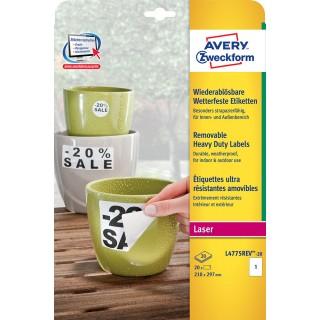 AVERY ZWECKFORM Wetterfeste Etiketten L4775REV 210 x 297 mm 20 Etiketten weiß