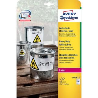 AVERY ZWECKFORM Wetterfeste Etiketten L4778-20 ws 45,7 x 21,2 mm weiß