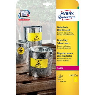 AVERY ZWECKFORM Wetterfeste Etiketten L6111-20 210 x 297 mm 20 Etiketten gelb
