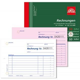 OMEGA Rechnungsbuch 951 1/2 OKN A6 quer 2 x 50 Blatt selbstdurchschreibend