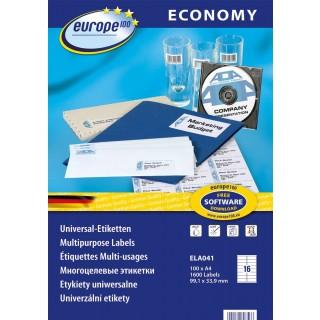 EUROPE100 Universal-Etiketten 9,1 x 3,39 cm 100 Blatt weiß