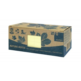 INFO NOTES Recycling Haftnotizen 7,5 x 7,5 cm 12 Stück à 100 Blatt gelb